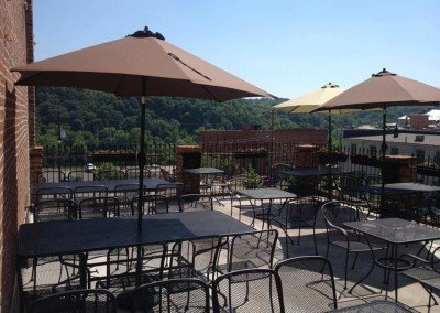 Enjoy the patio overlooking the James River. Ask about group or event reservations!