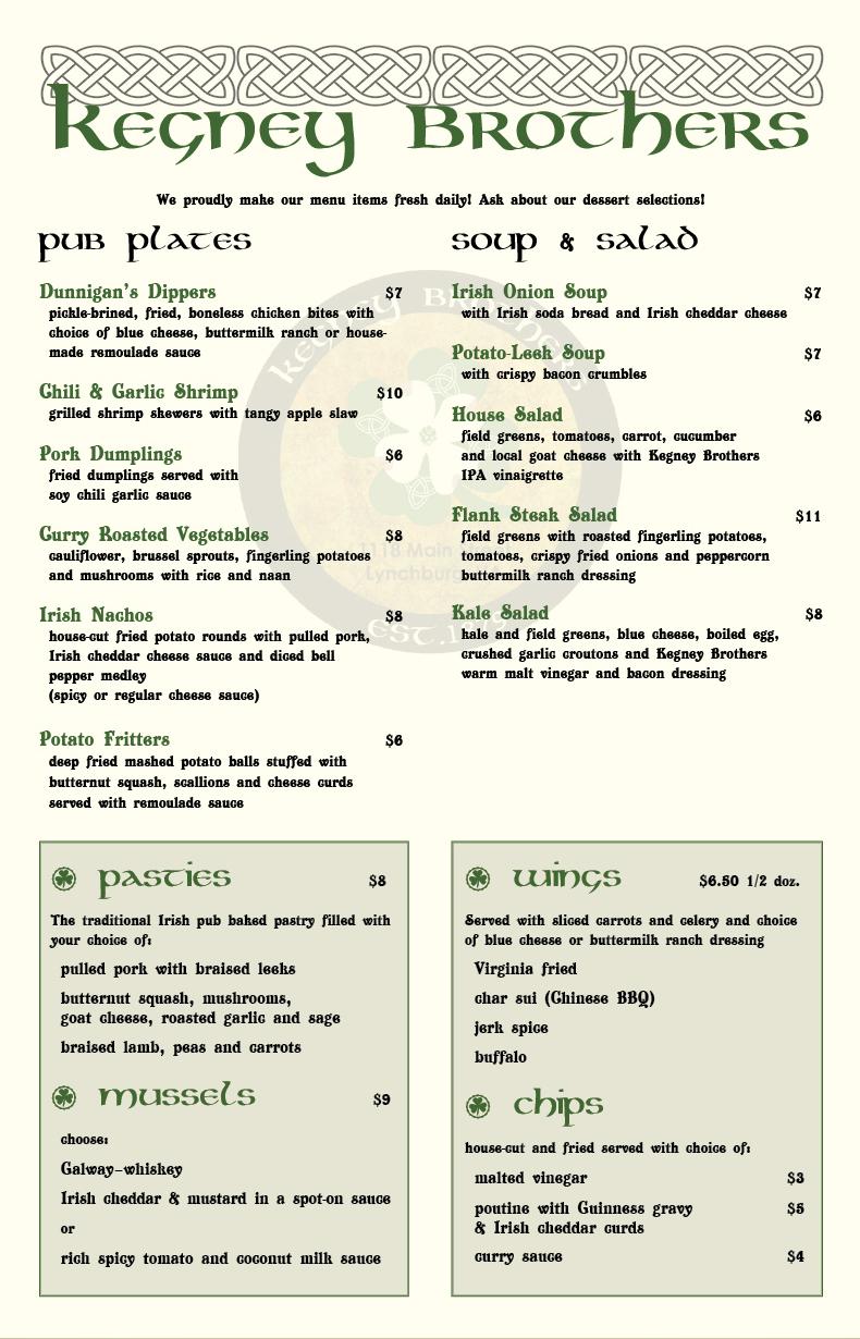 Kegney Brothers menu (page 1)