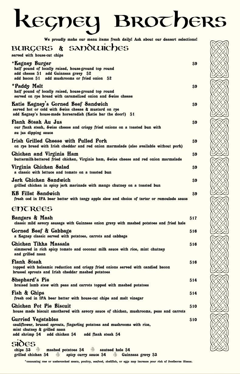 Kegney Brothers menu (page 2)